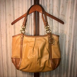 Coach Leather Alexandria Chain Tote Bag in Walnut